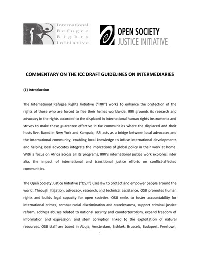 First page of PDF with filename: icc-intermediaries-commentary-20110818.pdf