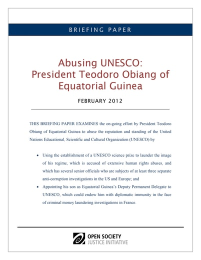 First page of PDF with filename: obiang-unesco-20120222.pdf