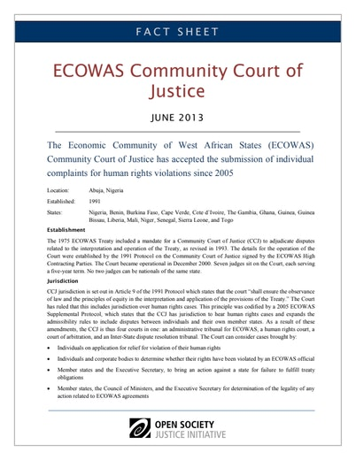 First page of PDF with filename: fact-sheet-ecowas-court-justice-20130627.pdf