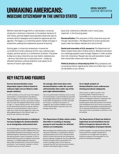 First page of PDF with filename: unmaking-americans-insecure-citizenship-in-the-united-states-fact-sheet-20190916.pdf