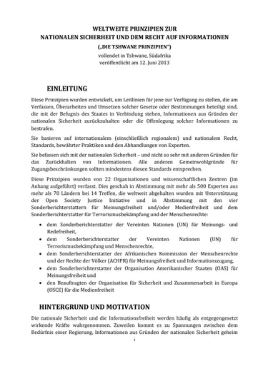First page of PDF with filename: tshwane-german-20150209.pdf