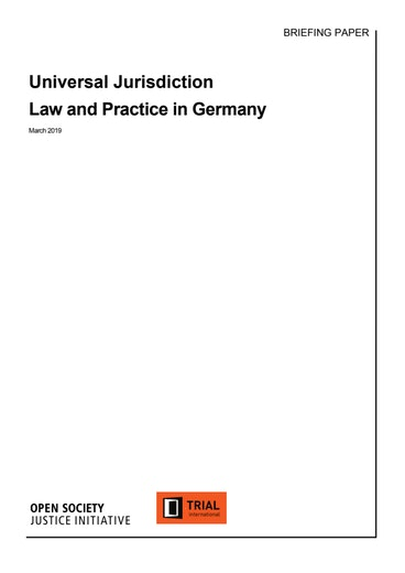 First page of PDF with filename: universal-jurisdiction-law-and-practice-germany.pdf