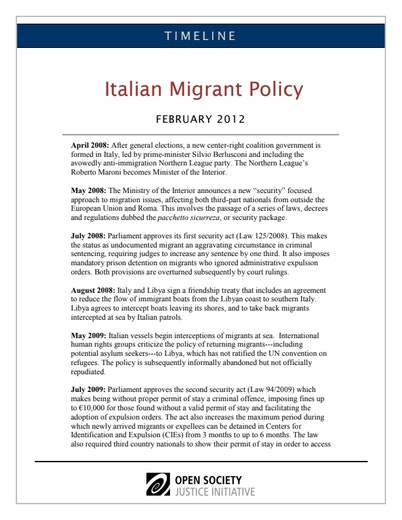 First page of PDF with filename: italy-timeline-20120212.pdf