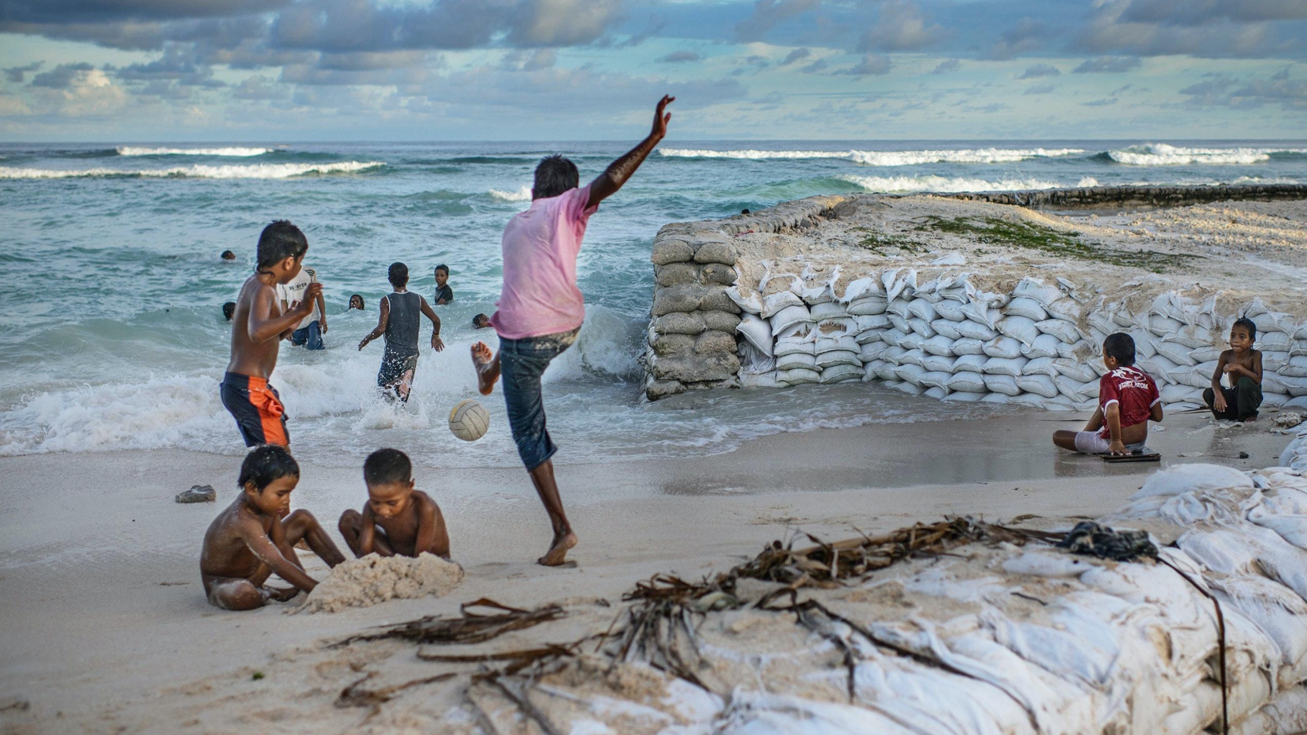 Kids playing on a beach