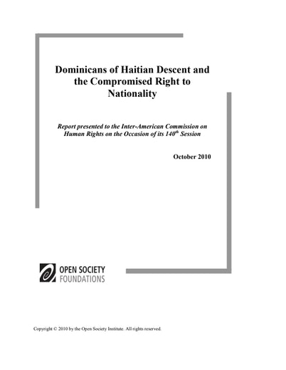 First page of PDF with filename: Dominican-Republic-Nationality-Report-ENG-20110805.pdf