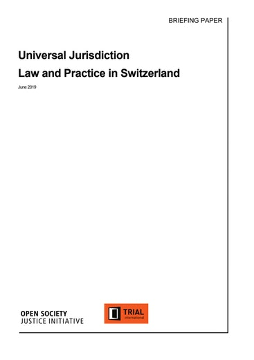 First page of PDF with filename: universal-jurisdiction-law-and-practice-switzerland.pdf