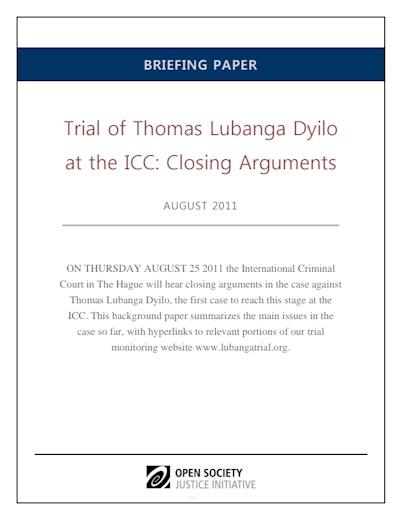 First page of PDF with filename: lubanga-briefing-20110816.pdf