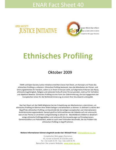 First page of PDF with filename: Factsheet-ethnic-profiling-20091001-GER_0.pdf