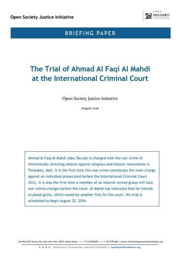 First page of PDF with filename: briefing-almahdi-icc-trial 20160819_1.pdf