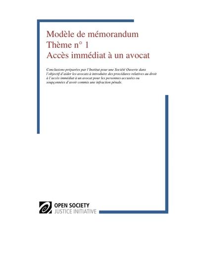 First page of PDF with filename: modele-de-memorandum-acces-immediat- avocat-20120523.pdf