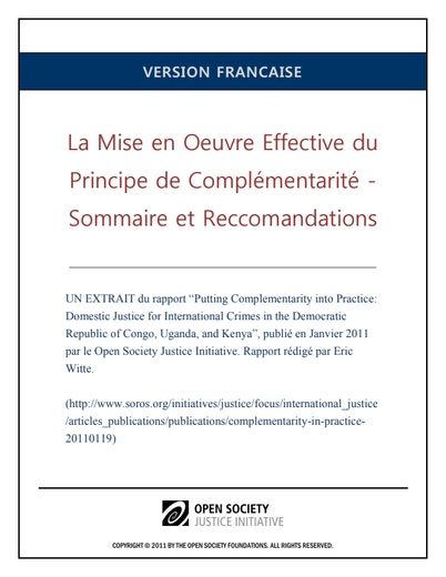 First page of PDF with filename: complementarity-summary-francais-20110728_0.pdf