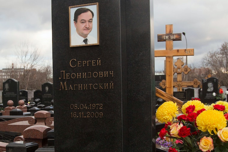 The tombstone at the grave of lawyer Sergey Magnitsky at a cemetery in Moscow, Russia, on November 16, 2012.