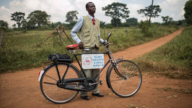A paralegal with his bicycle