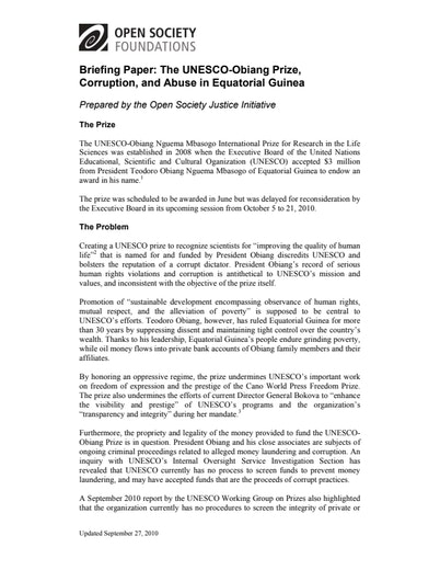 First page of PDF with filename: obiang-prize-issue-brief-20100927.pdf