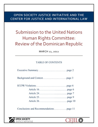 First page of PDF with filename: unhrc-review-dominican-republic-20120215.pdf