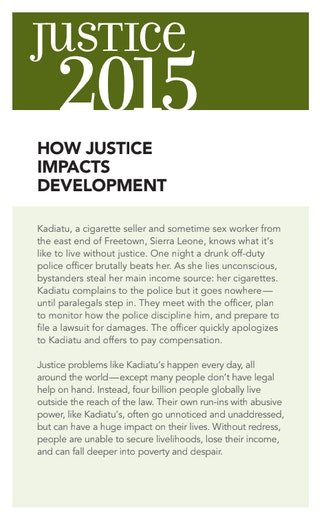 First page of PDF with filename: fact-sheet-justice-impacts-development-2015-20130319.pdf