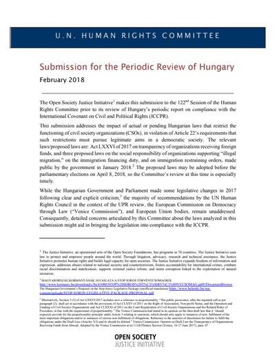 First page of PDF with filename: submission-to-unhrc-hungary-20180212.pdf