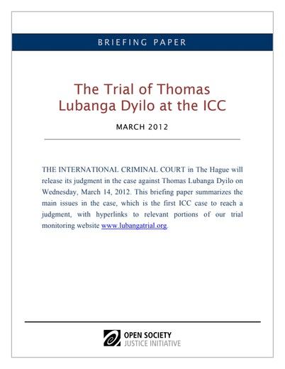 First page of PDF with filename: lubanga-briefing-20120314.pdf