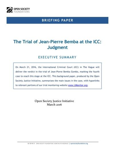 First page of PDF with filename: briefing-bemba-judgment-20160315.pdf