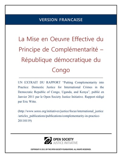 First page of PDF with filename: complementarity-drc-francais-20110728_0.pdf