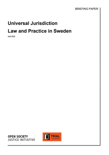 First page of PDF with filename: universal-jurisdiction-law-and-practice-sweden.pdf