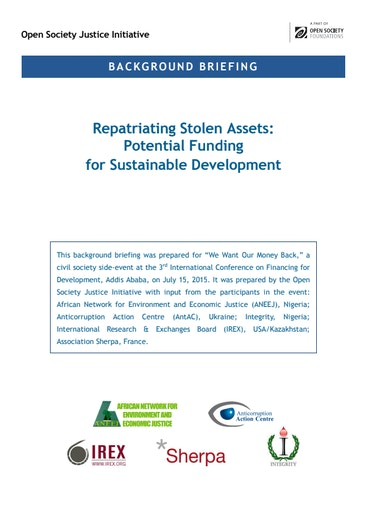 First page of PDF with filename: repatriating-stolen-assets-background-20150727.pdf