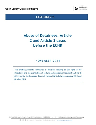 First page of PDF with filename: briefing-ECHR-art 2-3-cases-20150505.pdf
