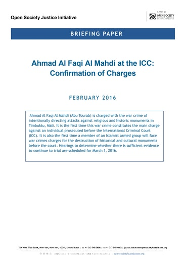 First page of PDF with filename: briefing-almahdi-icc-confirmation-charges 20160225.pdf