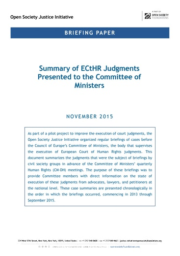 First page of PDF with filename: briefing-summary-echr-judgment-com-20151120.pdf