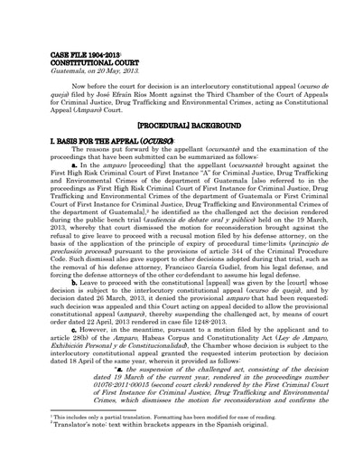 First page of PDF with filename: rios-montt-consitutional-court-judgment-plus-dissents-11072013.pdf