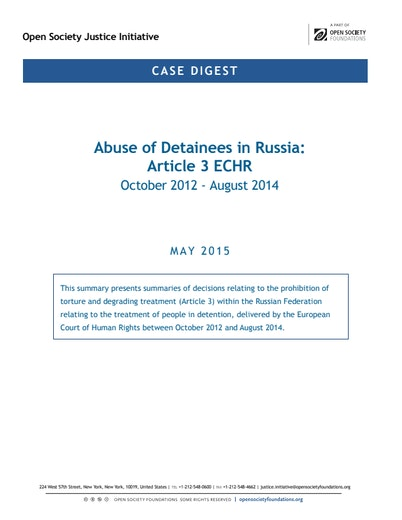 First page of PDF with filename: case-digest-abuse-detainees-russia-article-3-echr-20150622.pdf