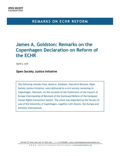 First page of PDF with filename: james-goldston-remarks-on-copenhagen-declaration-on-reform-of-the-echr-20180411.pdf