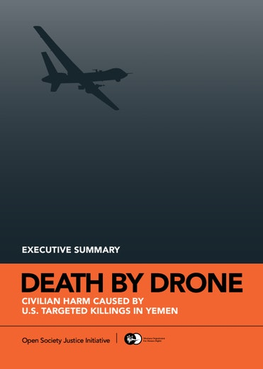 First page of PDF with filename: death-drone-yemen-exec-summary-20150410.pdf