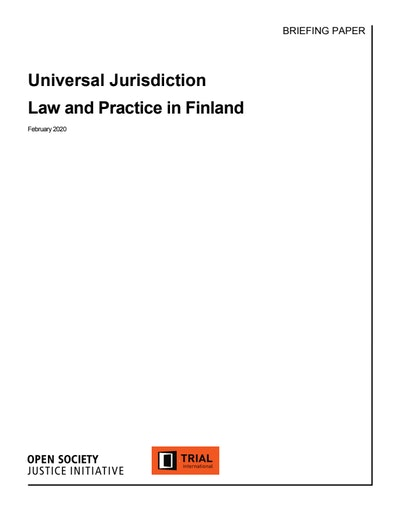 First page of PDF with filename: universal-jurisdiction-law-and-practice-finland.pdf