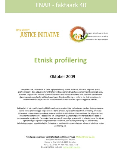 First page of PDF with filename: Factsheet-ethnic-profiling-20091001-DAN_0.pdf