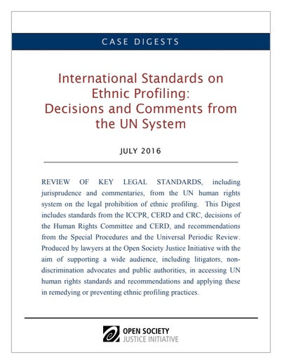 First page of PDF with filename: Digests-Ethnic Profiling-UN system revised-07.26.16_0.pdf