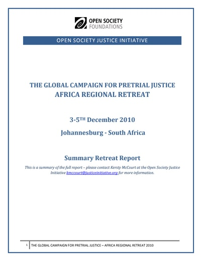 First page of PDF with filename: africa-retreat-summary-20101201.pdf