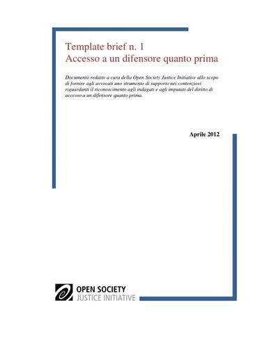 First page of PDF with filename: template-brief-accesso-a-un-difensore-quanto-prima-20120618.pdf