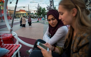 Women looking at a phone