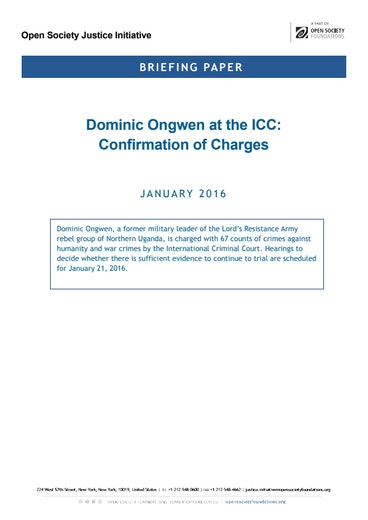 First page of PDF with filename: briefing-ongwen-icc-confirmation-charges 20160120_0.pdf