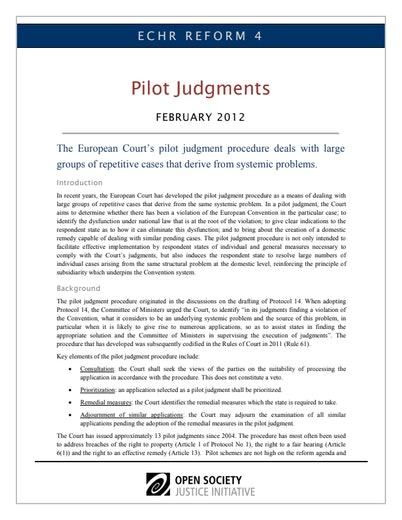 First page of PDF with filename: echr4-pilots-20120227.pdf