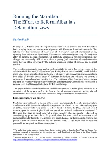 First page of PDF with filename: pavli-albania-libel-05152013.pdf