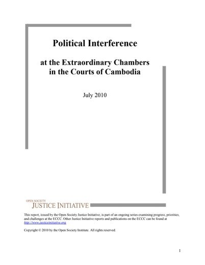 First page of PDF with filename: political-interference-courts-cambodia-20100706.pdf