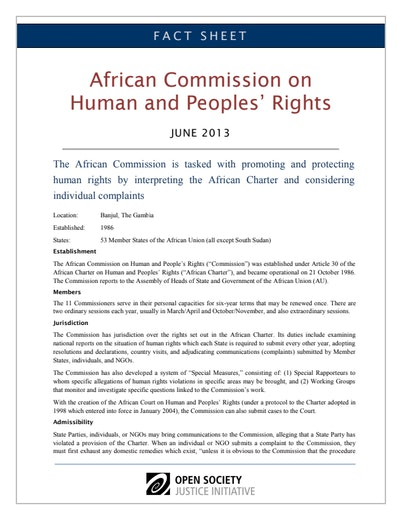 First page of PDF with filename: fact-sheet-african-commission-human-peoples-rights-20130627.pdf