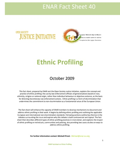First page of PDF with filename: Factsheet-ethnic-profiling-20091001-ENG.pdf
