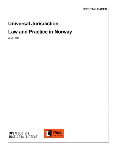 First page of PDF with filename: universal-jurisdiction-law-and-practice-norway.pdf