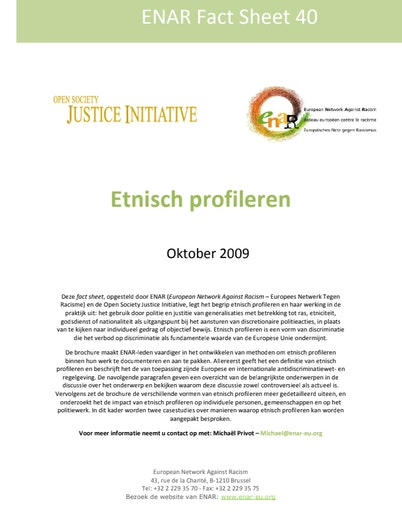 First page of PDF with filename: Factsheet-ethnic-profiling-20091001-DUT_0.pdf