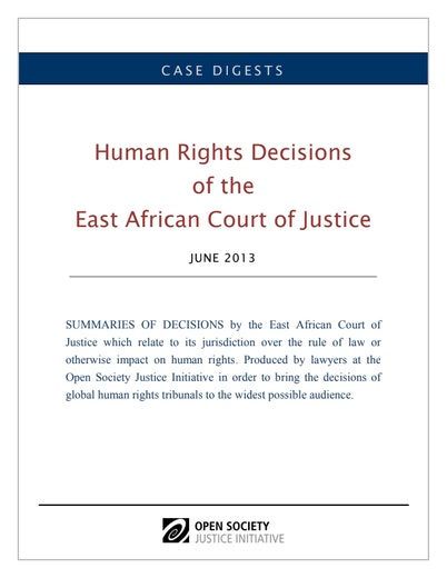 First page of PDF with filename: east-african-court-digest-june-2013-20130726.pdf