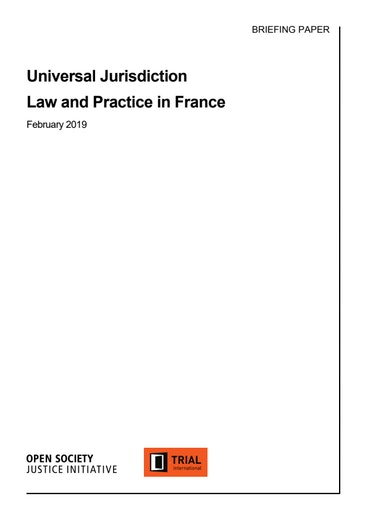 First page of PDF with filename: universal-jurisdiction-law-and-practice-france.pdf