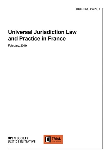 First page of PDF with filename: FRANCE_Universal Jurisdiction_FINAL_AMENDED_clean (1).pdf